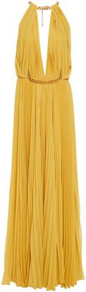 Oscar de la Renta Chain-trimmed Plisse Silk-crepon Gown