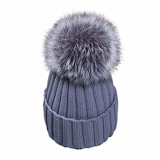 Feifanshop Womens Girls Warm Winter Crochet Hat Wool Knitted Beanie with Large Faux Fox Fur Pom Pom Cap Ski Snowboard Hats Bobble Ball (Grey)