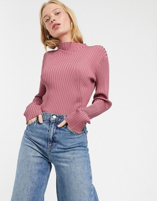 Weekday Zion ribbed knitted jumper with mock neck in dusty pink