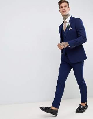 Harry Brown wedding slim fit super soft suit trousers-Blue