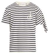 Jw Anderson Logo-embroidered Knotted-sleeve Cotton T-shirt