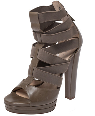 Casadei Grey Leather Gladiator Block Heel Sandals Size 37