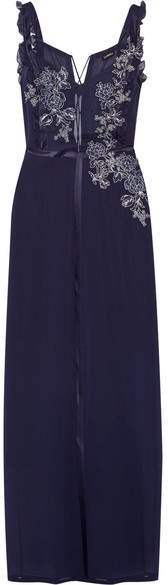 La Perla Peony Embroidered Satin-trimmed Stretch-silk And Tulle Nightdress - Midnight blue