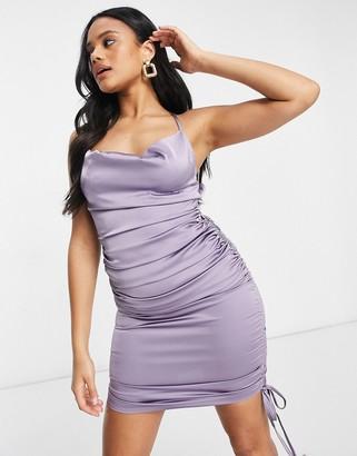 Club L London back detail satin slip dress in purple