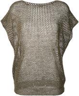 Fay net effect short sleeve top - women - Cotton/Linen/Flax - XS