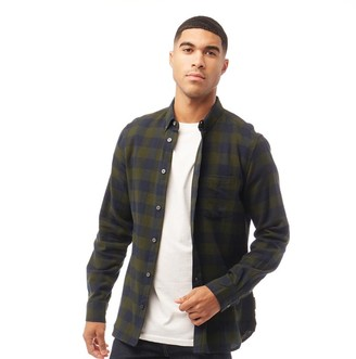 French Connection Mens Large Gingham Flannel Check Long Sleeve Shirt Dark Green/Marine