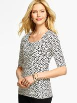Talbots Elbow-Sleeve Rounded Square-Neck Tee- Abstract Dots