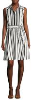 Ava & Aiden Striped Cotton Flared Shirtdress