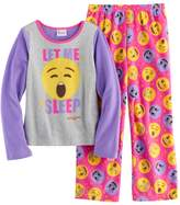 "Girls 4-10 Emoji ""Let Me Sleep"" Tee & Bottoms Pajama Set"