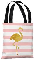 Tropical Stripes Flamingo Tote Bag