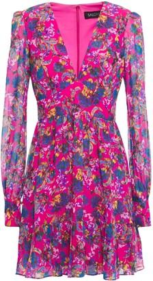 Saloni Flared Gathered Floral-print Silk-georgette Mini Dress