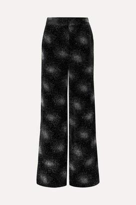 Sonia Rykiel Glittered Velvet Wide-leg Pants - Black