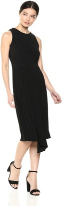 Taylor Dresses Women's Sleeveless Solid Knit Dress with Cross Pleat Front Detail