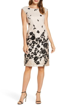 Donna Ricco Floral Flocked & Sequin Mesh Dress
