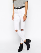 Asos Ridley Skinny Ankle Grazer Jeans in White With Rip and Destroy Busts