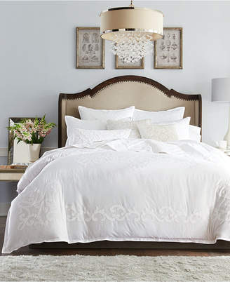 Hotel Collection Classic Scroll Applique Cotton King Duvet Cover, Bedding