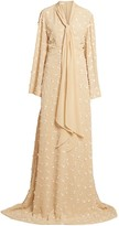 Chloé Floral Applique Flutter-Sleeve Silk Gown
