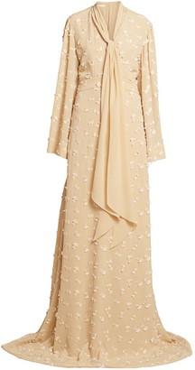 Chloé Floral Applique Flutter-Sleeve Silk Gown