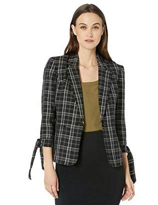 Nine West Women's 1 Button Notch Collar Jacket with TIE Sleeve Detail