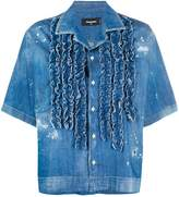 DSQUARED2 ruffle-trimmed denim shirt