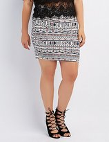 Charlotte Russe Plus Size Printed Bodycon Skirt