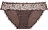 Calvin Klein Underwear Lace-Paneled Low-Rise Stretch-Jersey Briefs
