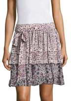 L'Agence Rosie Floral Print Ruffled Silk Skirt