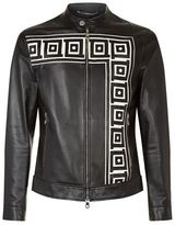 Versace Collection Greek Detail Zip-up Leather Jacket