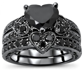 Front Jewelers 14k Black Rhodium Over White Gold 2.25ct Black Heart Shape Diamond Engagement Ring Bridal Set