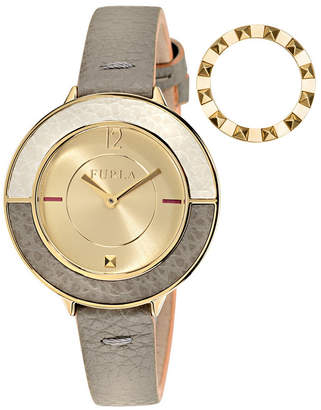 Furla Women Club Gold Dial Calfskin Leather Watch