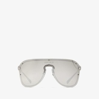 Versace VE2180 (Silver/Light Grey Mirror Silver) Fashion Sunglasses