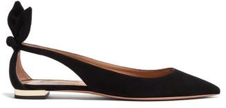 Aquazzura Bow Tie Cutout Suede Ballerina Flats - Black