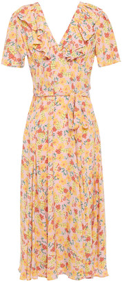 By Ti Mo Ruffled Floral-print Crepe De Chine Midi Dress