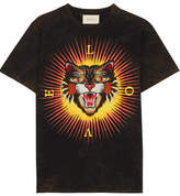 Gucci Appliquéd Printed Cotton-jersey T-shirt - Black