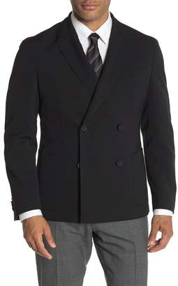 BOSS Neilson Black Solid Two Button Double Breasted Notch Lapel Slim Fit Suit Separates Blazer