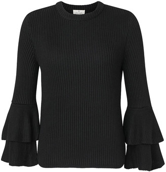Très Jolie Women's Pullover Sweaters Black - Black Ruffle-Sleeve Sweater - Women