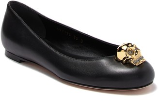 Alexander McQueen Skull Head Leather Flat