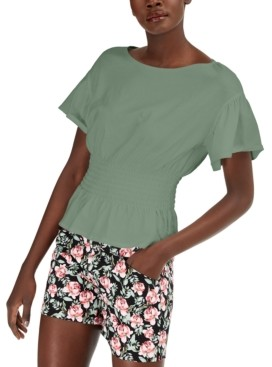 INC International Concepts Inc Petite Smocked-Waist Cotton Top, Created for Macy's