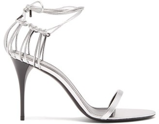 Saint Laurent Lexi Wraparound Cage-heel Leather Sandals - Silver