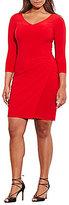 Lauren Ralph Lauren Plus V-Neck 3/4 Sleeve Pleated Jersey Dress