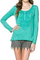 Monoreno Embroidered Henley Top