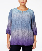 Charter Club Plus Size Printed Ombré Tunic, Only at Macy's