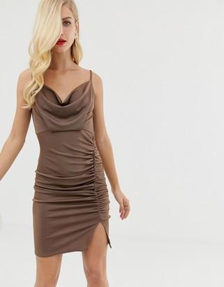 Asos Design DESIGN slinky ruched cowl mini dress-Brown
