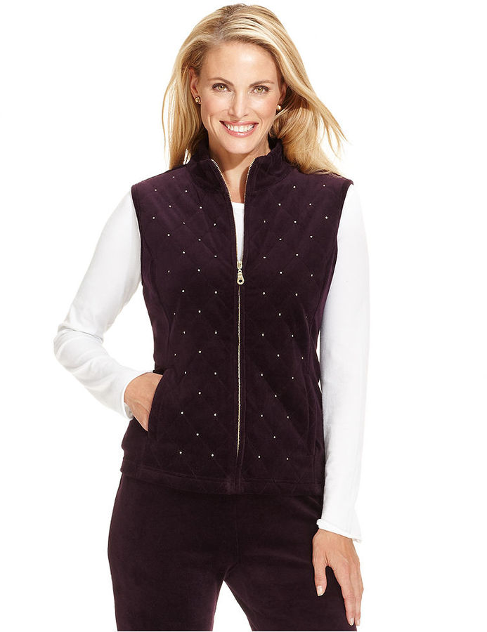 Charter Club Vest, Sleeveless Quilted Rhinestone-Embellished Vest