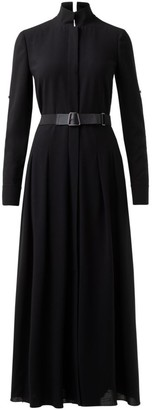 Akris Belted Wool Pleated Maxi Shirtdress