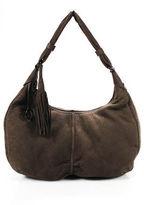 Giorgio Armani Brown Suede Tassel Embellished Round Large Shoulder Handbag