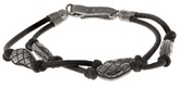 Bottega Veneta Oxidised-silver embellished leather bracelet
