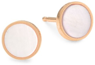 ginette_ny 18K Rose Gold & Pink Mother-Of-Pearl Stud Earrings