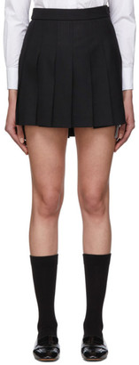 Thom Browne Black Wool Dropped Back Pleated Miniskirt