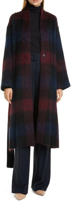 Vince Brushed Plaid Wool Blend Long Coat